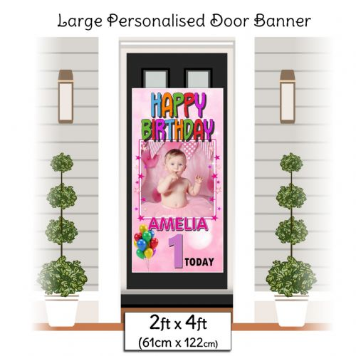 Personalised Happy Birthday Door PHOTO Banner Poster ~ Pink N31 Any Age